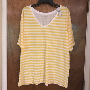 Yellow and White Lane Bryant T-Shirt
